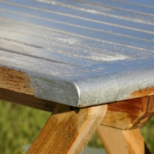 RA85 used on wooden garden table