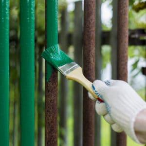 Owatrol Deco applied to metal fencing