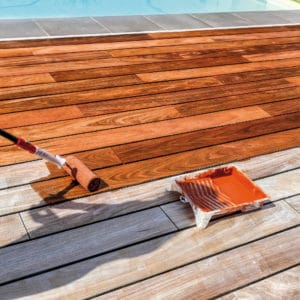 Application of Textrol on pool side deck