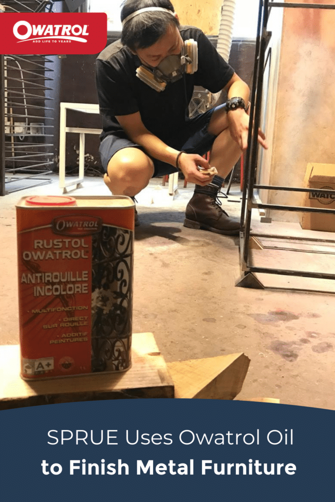 SPRUE uses Owatrol Oil to finish metal furniture - Pinterest