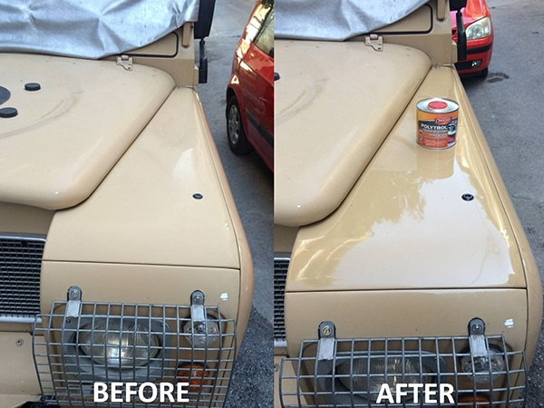 Before and after using Polytrol on a car's body work