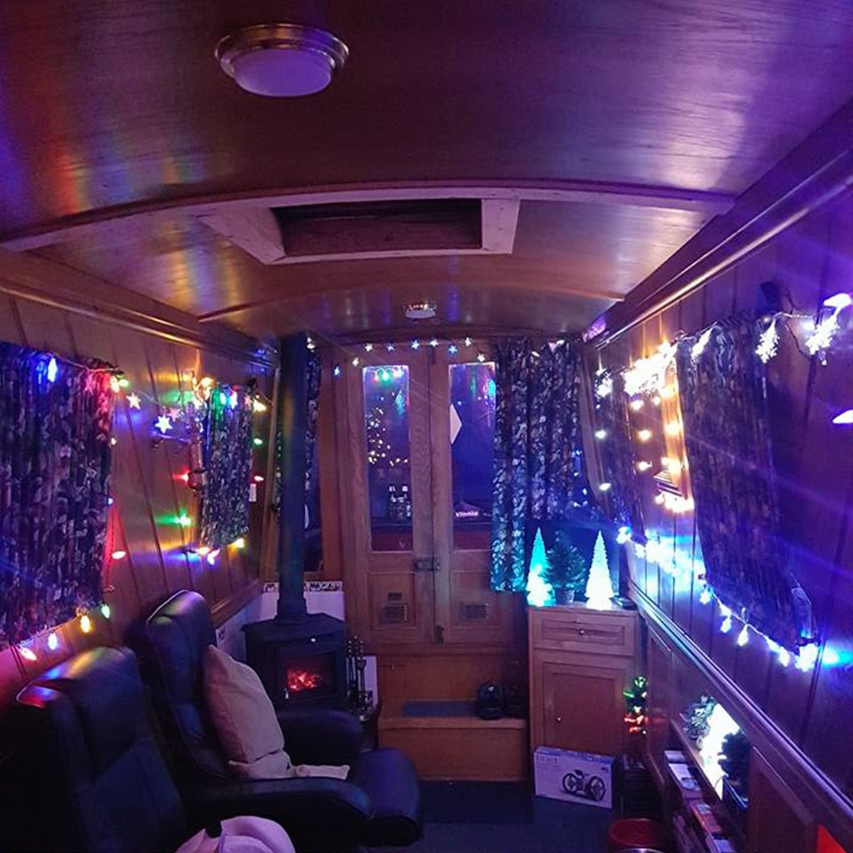 Narrowboat with indoor fairy lights