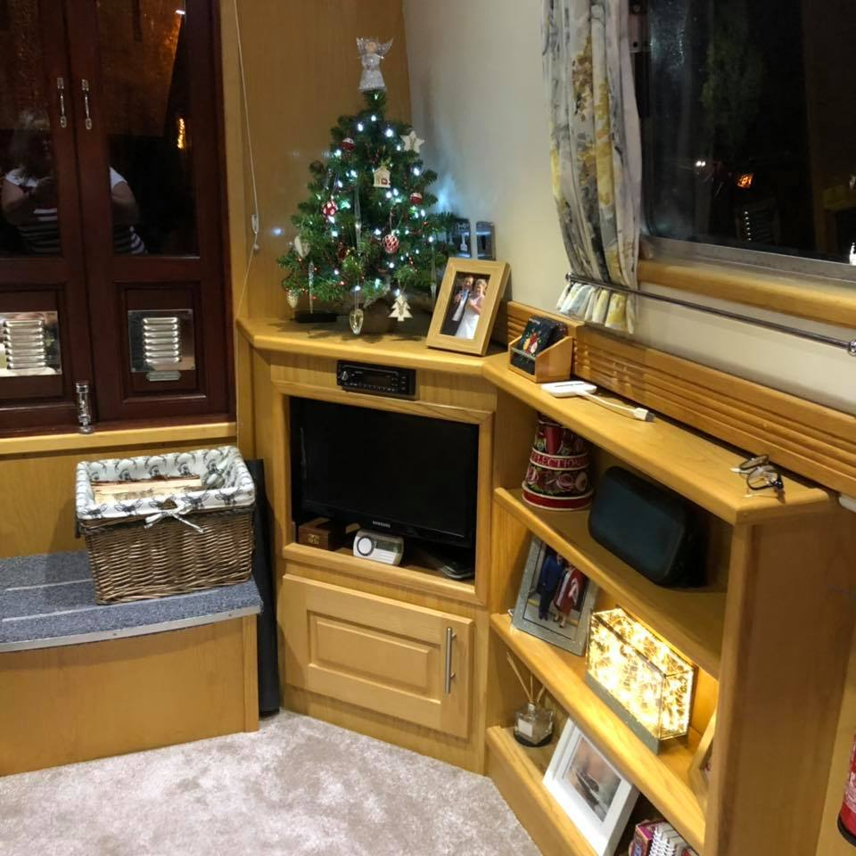 Christmas tree on narrowboat