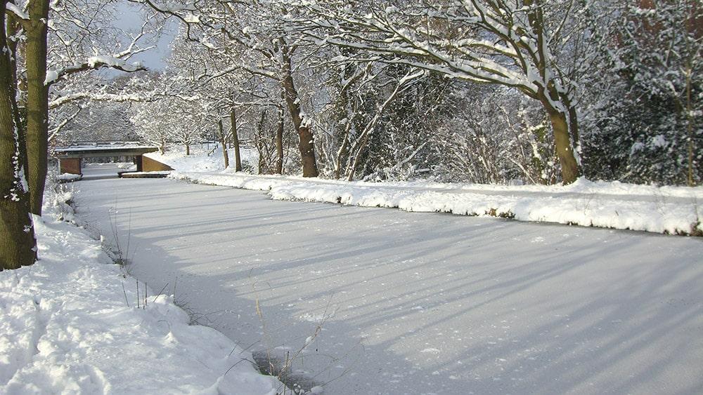 Frozen waterway
