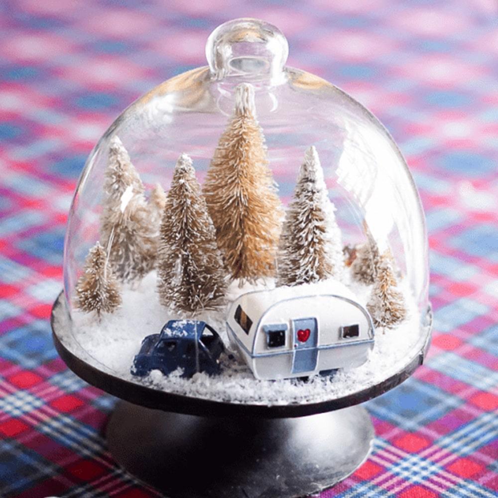 Snow scene under a cloche