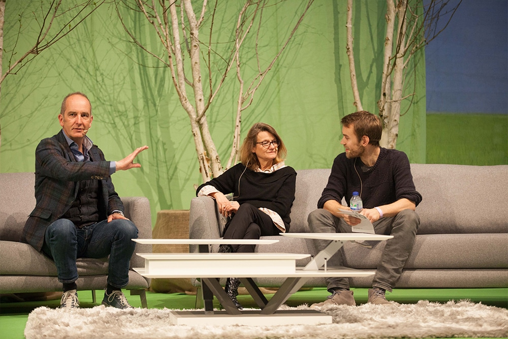 Kevin McCloud holding a seminar on the Grand Theatre Stage