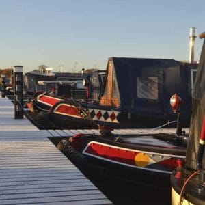 Narrow boats moored up