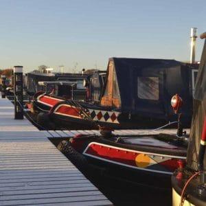 Narrow boats moored up