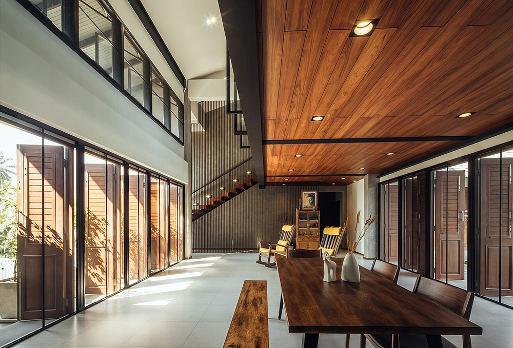 Large interior space with wood cladding