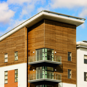 Linitop Solid used on a block of flats external wood cladding