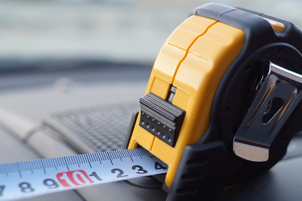 Black and yellow measuring tape