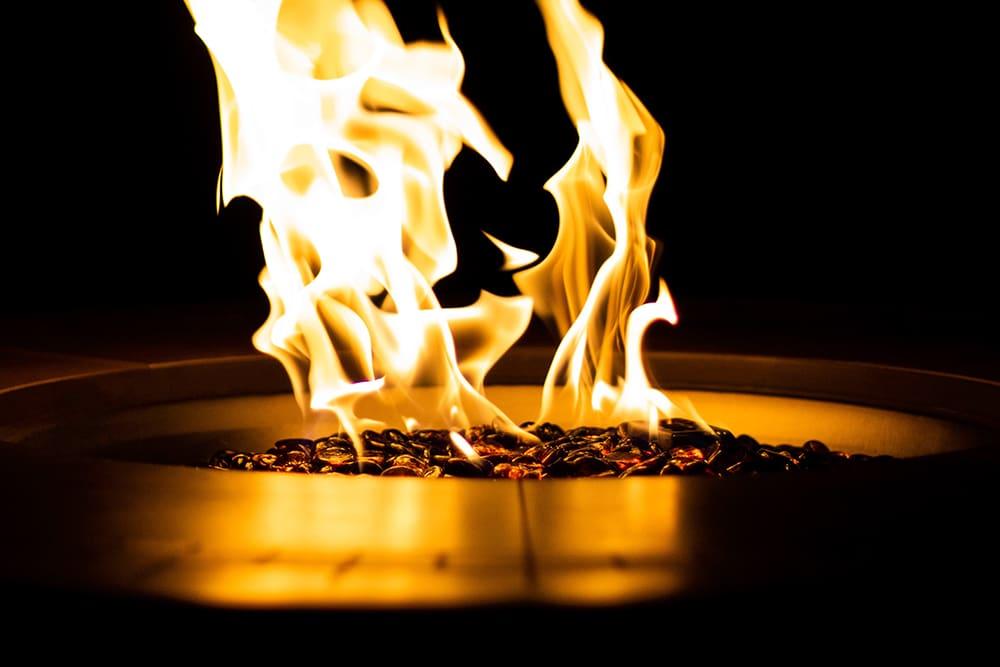 fire pit on a deck