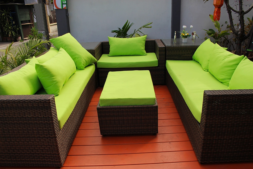 bold coloured furniture on a deck