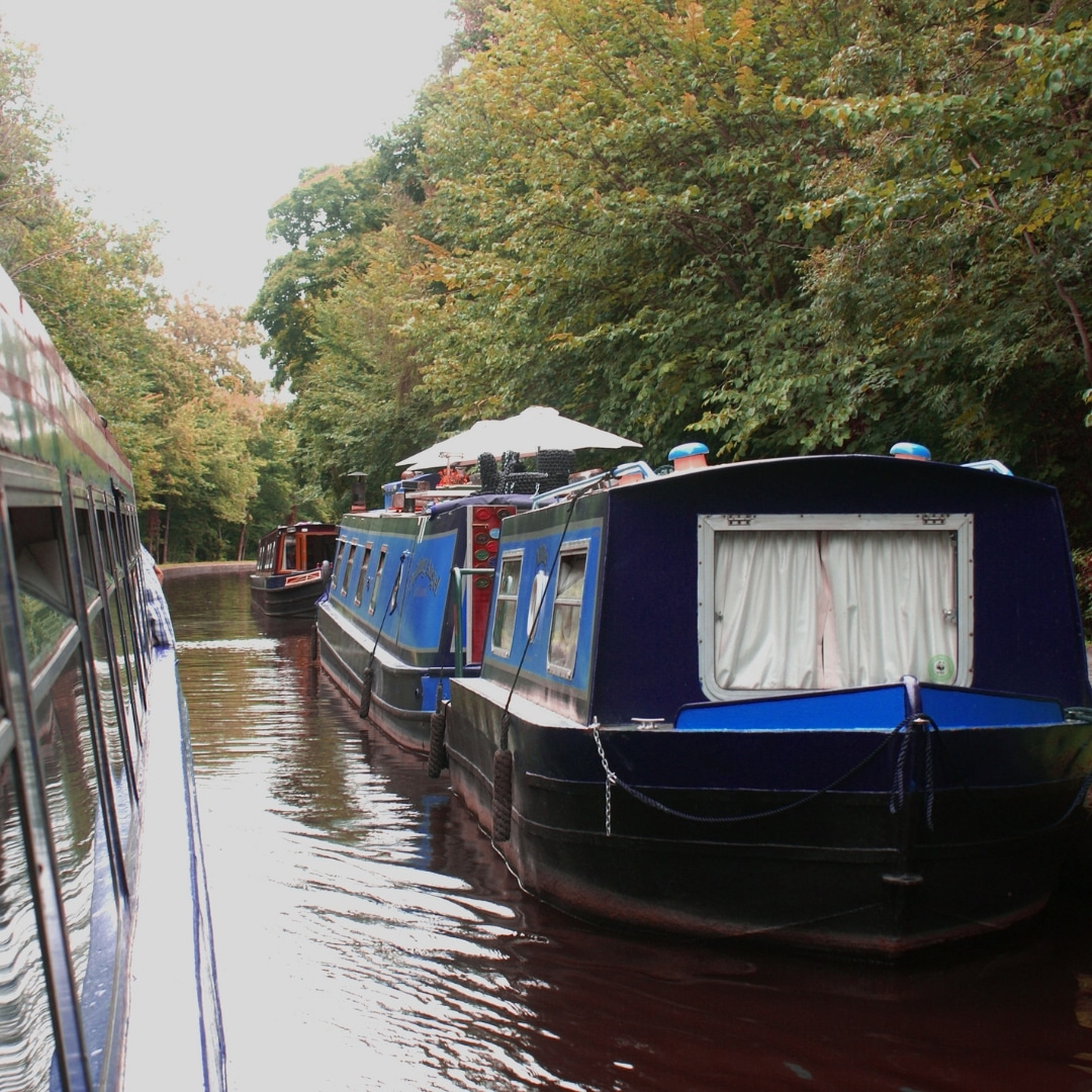 Narrow boat cruising down the waterways