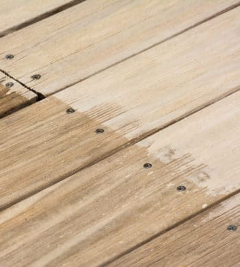 Renoclear applied to wooden decking