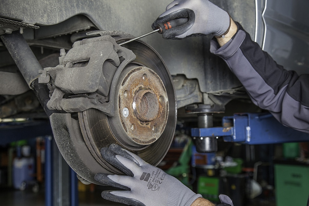 Replacing the brake pads on a car