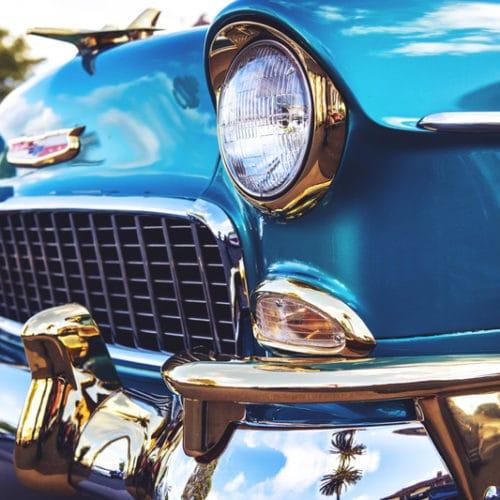 Close up classic blue car