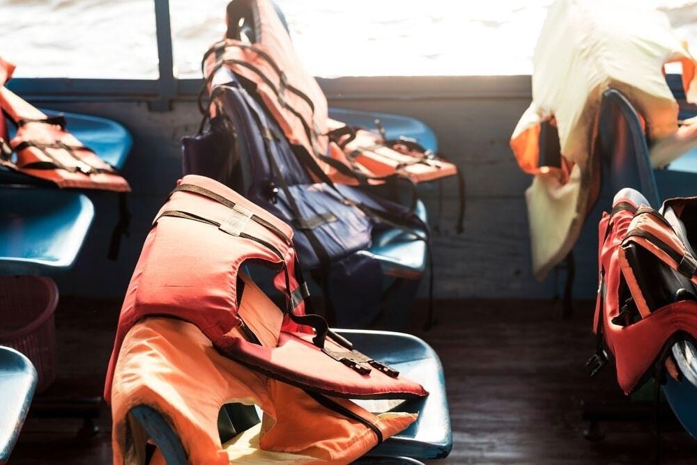Safety vests aboard a boat