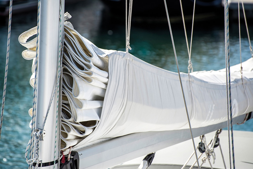 Sail that has been cleaned with Owatrol Owasail