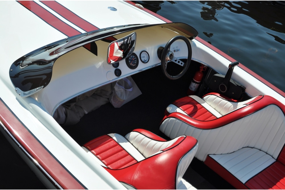 Red and white seats in a boat