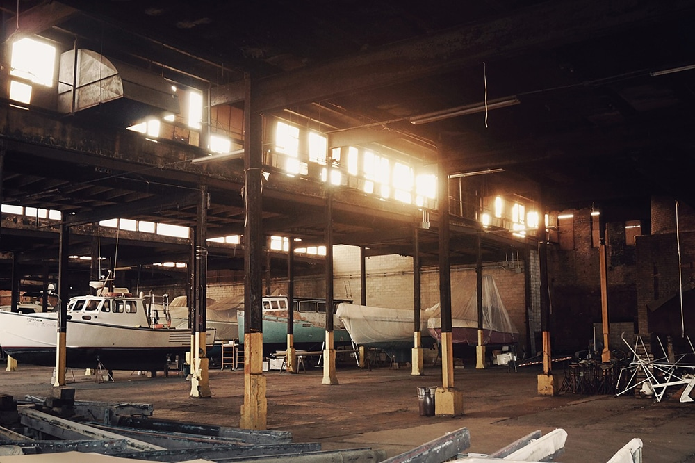 Boats stored in a warehouse