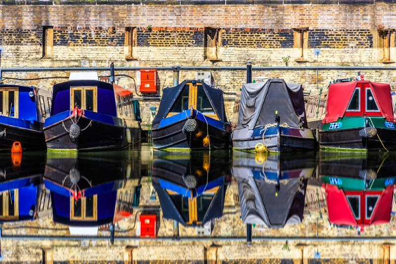 Narrow boats moored next to each other