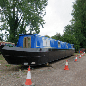 Narrow boat ready for storage