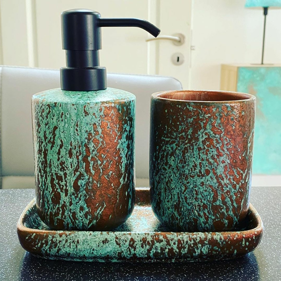 Copper Spirit applied to a soap dispenser by GK Designs