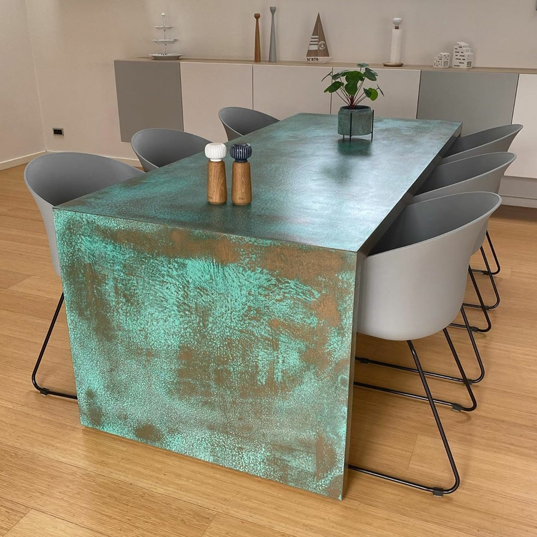 Copper Spirit applied to a dining table by GK Designs