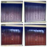 Before and after Polytrol on garage doors