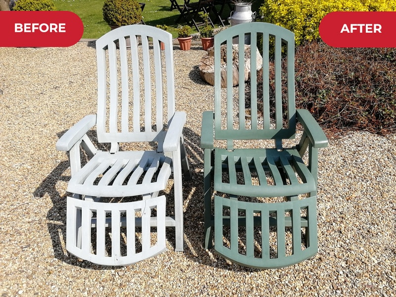 Before and after using Polytrol on garden chairs