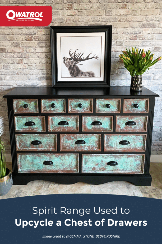 Spirit range used by Gemma Stone to upcycle a chest of drawers - Pinterest