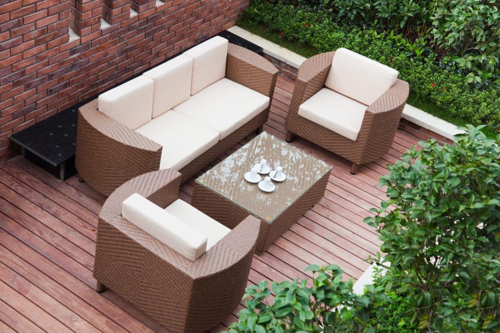 Rattan furniture on deck
