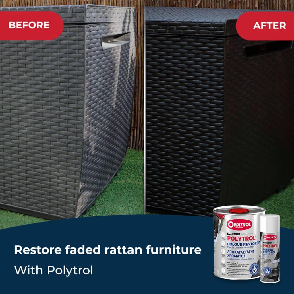 Faded rattan restored with Polytrol