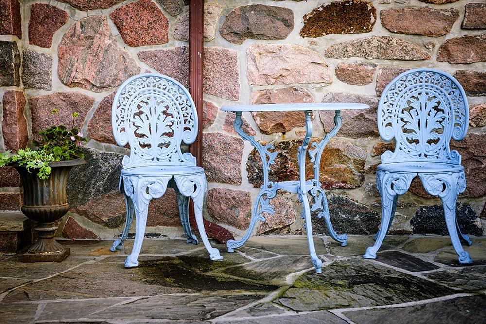 blue metal patio furniture