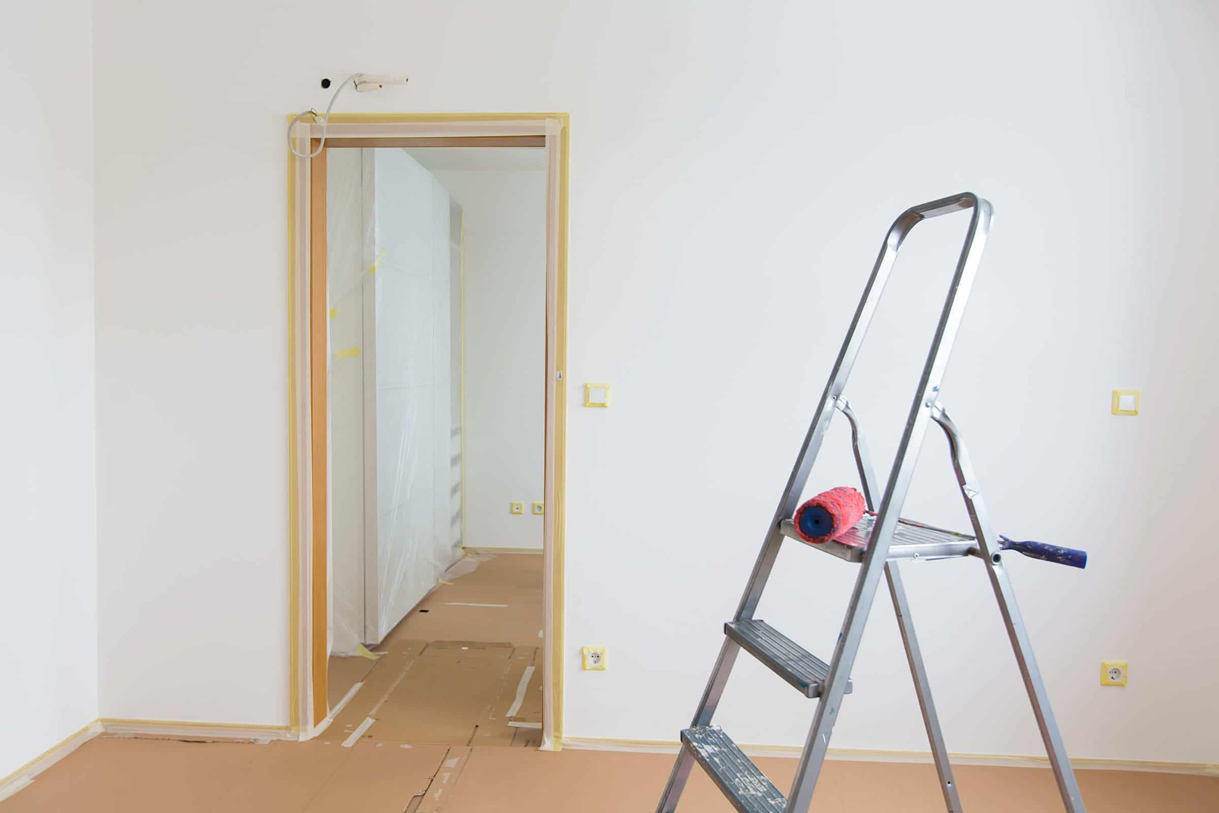 Room with decorators tape applied
